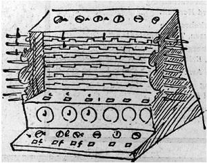 Black and white drawing of early computer